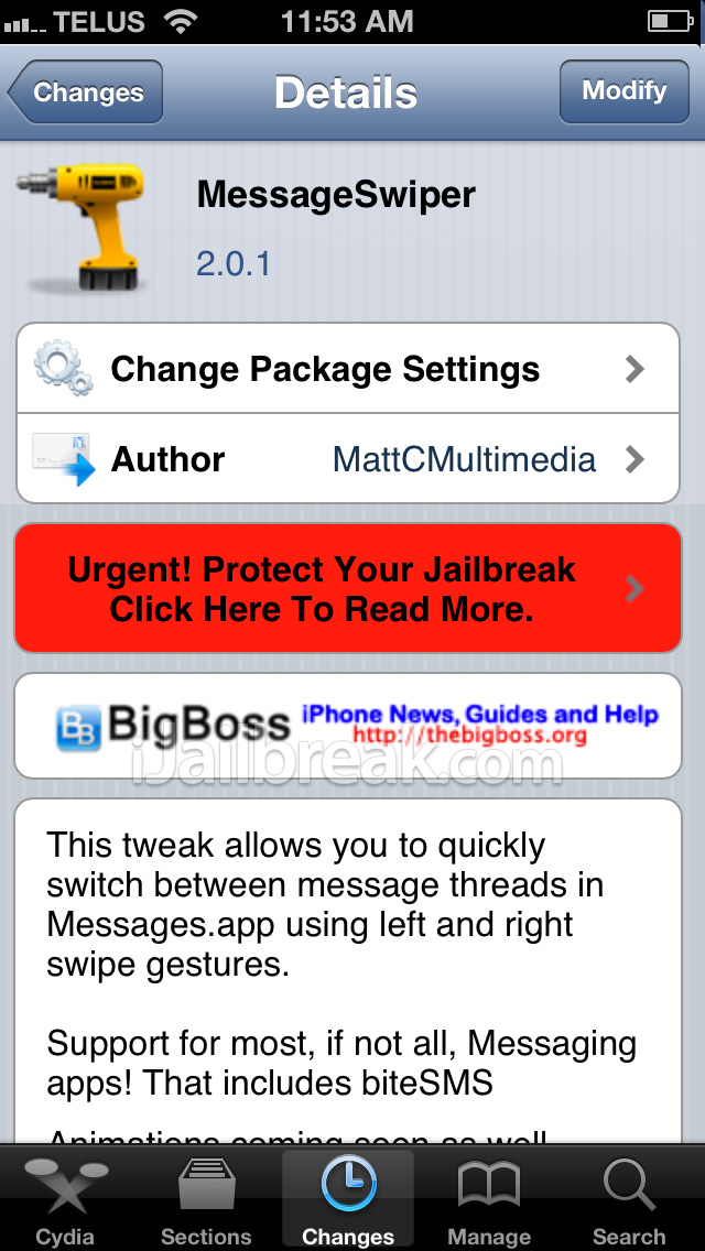 MessageSwiper Cydia Tweak
