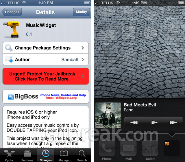 MusicWidget Cydia Tweak