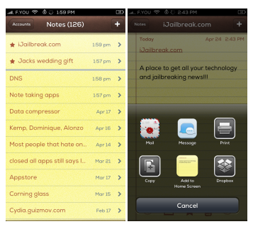 NotesTweak Cydia Tweak Notes iJailbreak