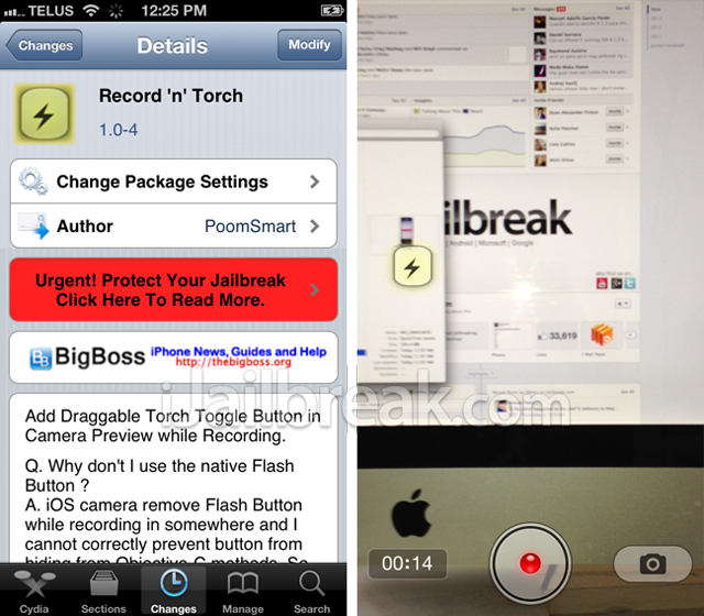 Record 'n' Torch Cydia Tweak