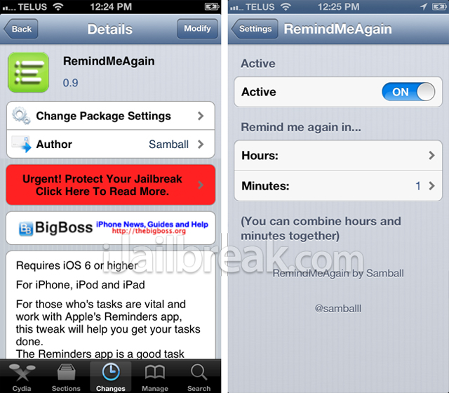 RemindMeAgain Cydia Tweak