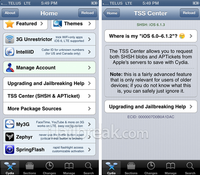 Downgrading From iOS 6.1.3 To iOS 6.1.2 Is Not Possible Using Cydia SHSH Blobs