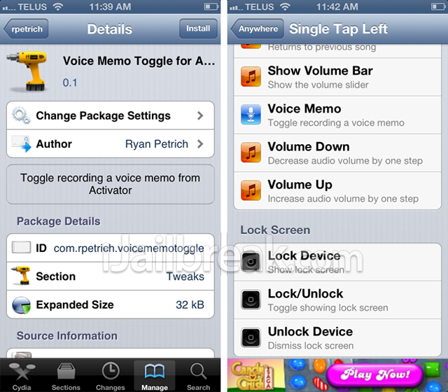 Voice Memos Toggle for Activator