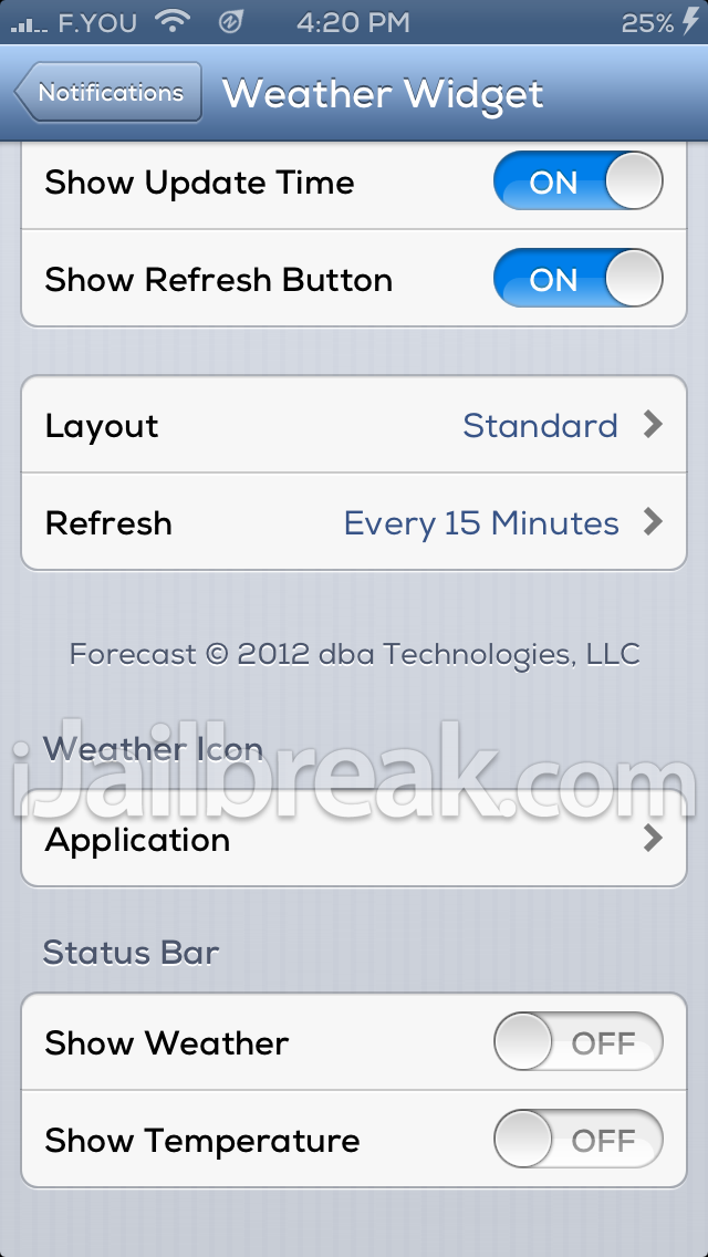WeatherIcon 6 Cydia Tweak Settings ijailbreak
