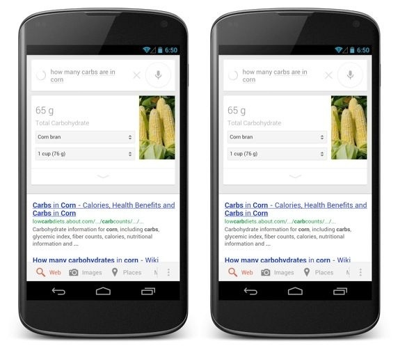 Google Adds Nutritional Cards To Now