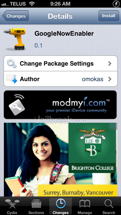 GoogleNowEnabler Cydia Tweak