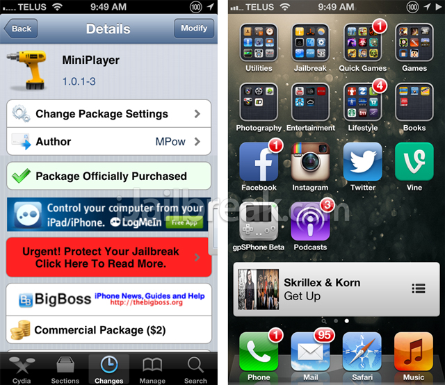 MiniPlayer-Cydia-Tweak