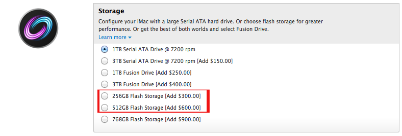 New iMac Storage Options