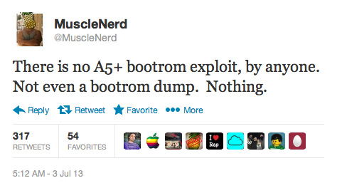 MuscleNerd States There Is No A5+ Bootrom Exploit