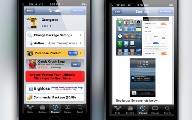 Orangered Cydia Tweak