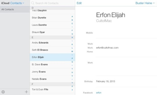 iCloud Redesign Contacts