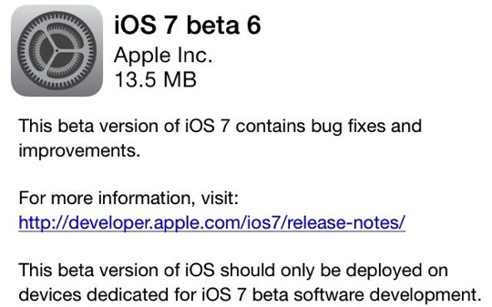 Download iOS 7 Beta 6 Build 11A4449d