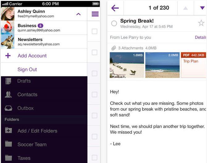 Yahoo Mail 1.5.9 iOS App