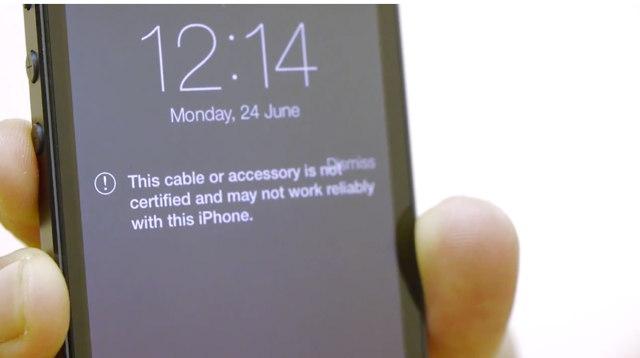 iOS 7 Non-Certified Lightning Cable Warning