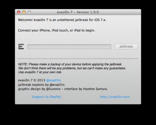 Evasi0n7 Version 1.0.0 Mac OS X
