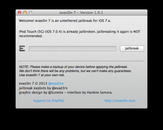 Evasi0n7 1.0.1 App Mac OS X
