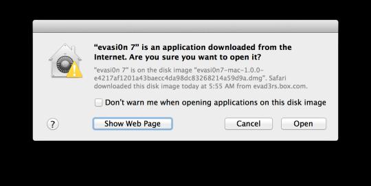 evasi0n 7 App Warning