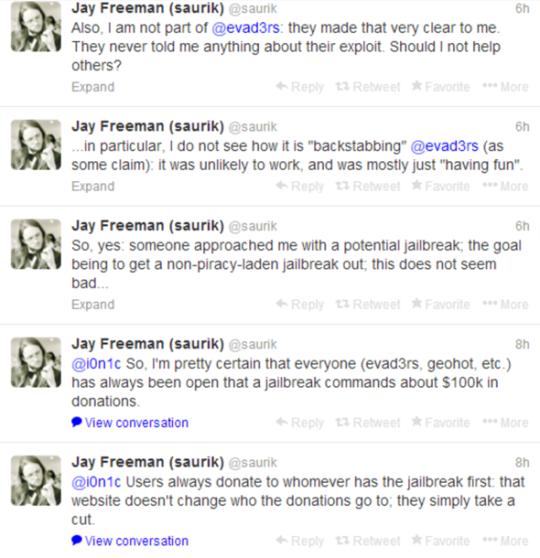 Jay Freeman Saurik Tweets About Evasi0n7 Jailbreak