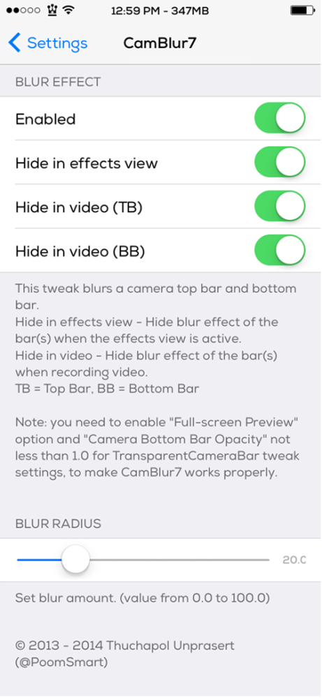 CamBlur7 Settings