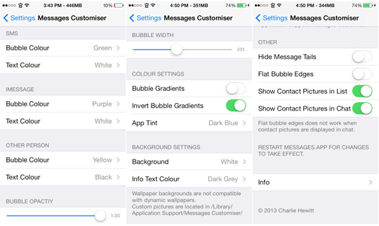 Messages Customiser Settings