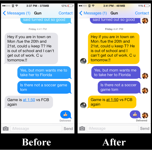 Messages Customiser Before and After