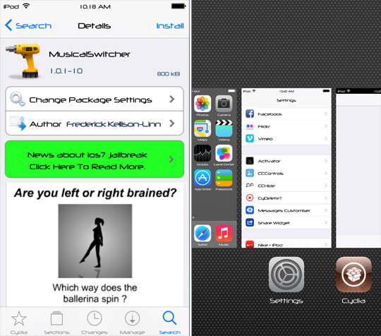 MusicalSwitcher Cydia Tweak