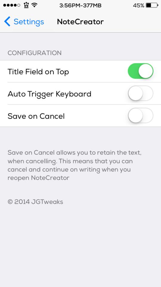 NoteCreator Cydia Tweak Settings