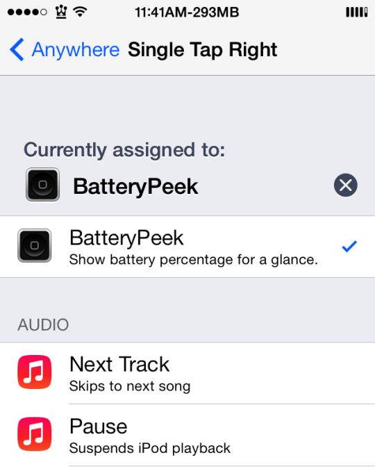 BatteryPeek Cydia Tweak Activator
