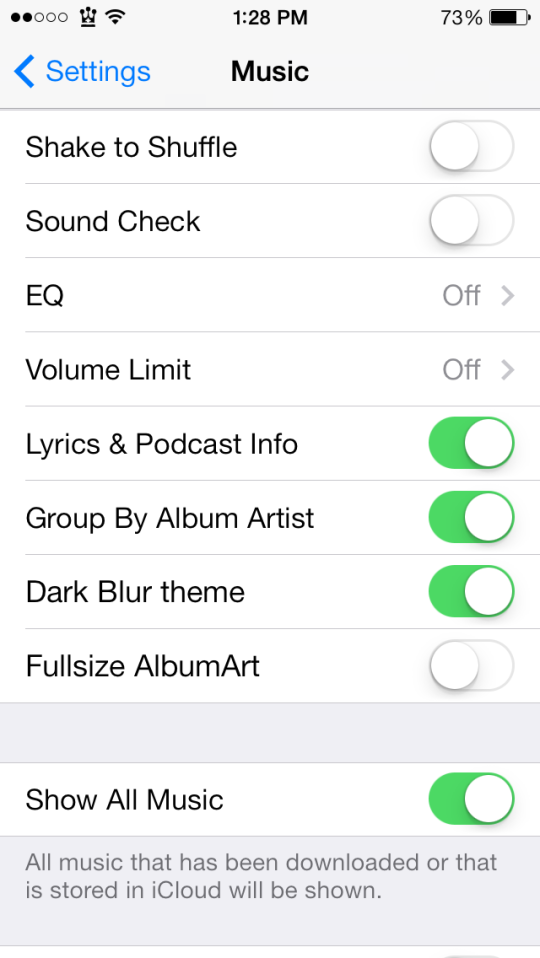 BlurredMusicApp Settings Music