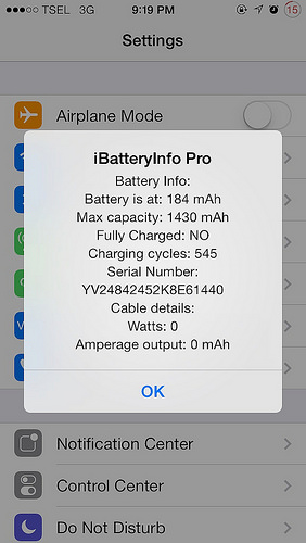 iBatteryInfoPro Cydia Tweak Settings