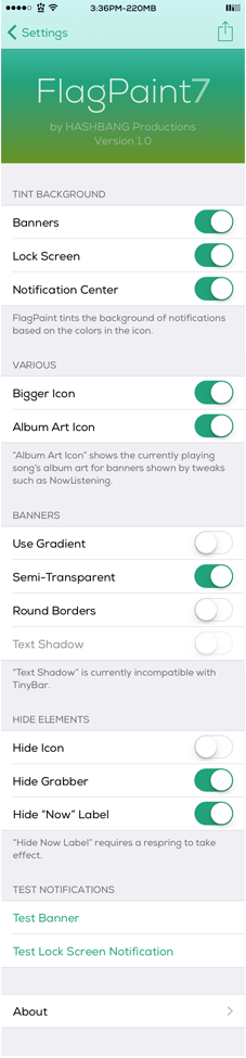 FlagPaint7 Cydia Tweak Settings