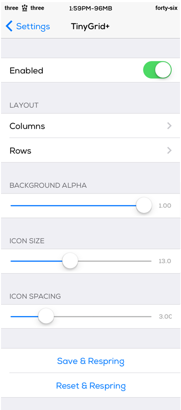 TinyGrid+ Cydia Tweak Settings