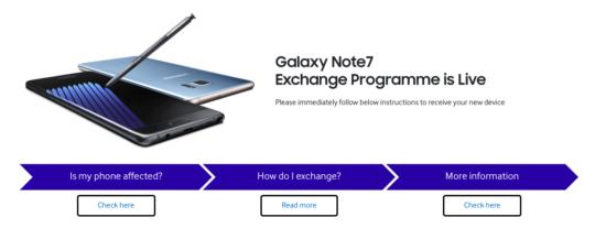 Samsung Note 7 exchange program